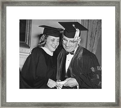 President Truman And Daughter Framed Print by Underwood Archives