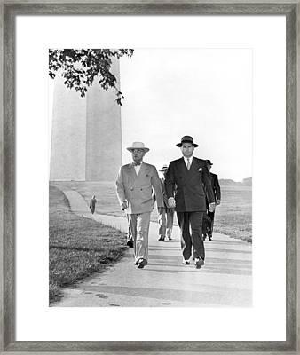 President Truman On A Walk Framed Print by Underwood Archives