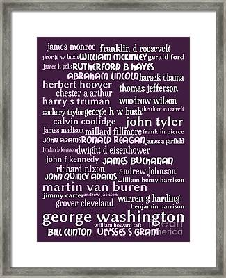 Presidents Of The United States 20130625bwmag Framed Print by Wingsdomain Art and Photography