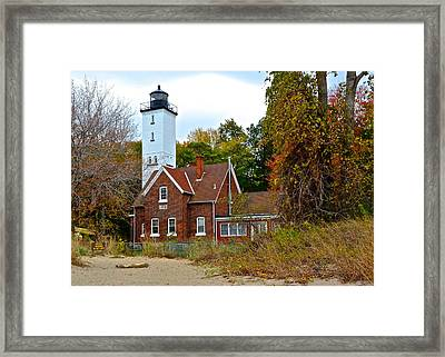Presque Isle Lighthouse Framed Print by Frozen in Time Fine Art Photography