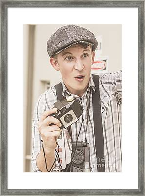 Press Photographer With Great Exposure Framed Print by Jorgo Photography - Wall Art Gallery