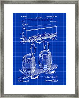 Pressure Apparatus For Beer Patent 1897 - Blue Framed Print by Stephen Younts