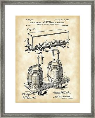 Pressure Apparatus For Beer Patent 1897 - Vintage Framed Print by Stephen Younts