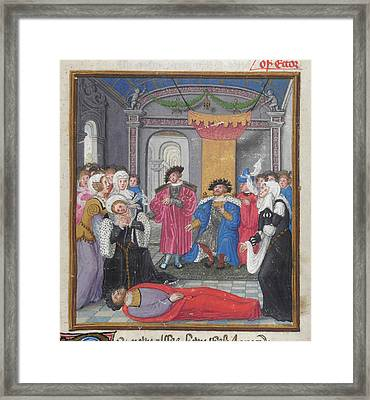 Priam And Court Mourn Hector Framed Print by British Library