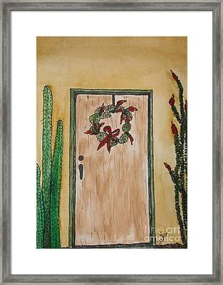 Prickly Pear Wreath Framed Print by Marcia Weller-Wenbert