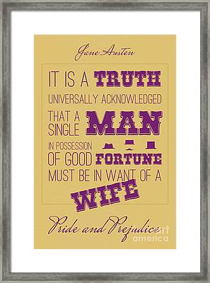 Pride And Prejudice Book Cover Poster Art 3 Framed Print by Nishanth Gopinathan