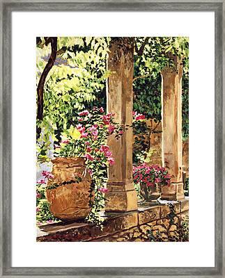 Prieure Hotel Gardens Villeneuve Framed Print by David Lloyd Glover