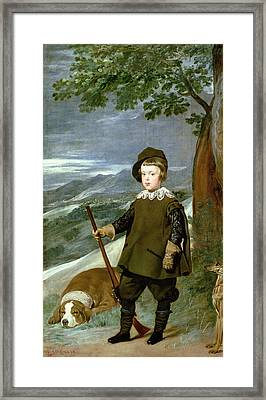Prince Balthasar Carlos 1629-49 Dressed As A Hunter, 1635-36 Oil On Canvas Framed Print by Diego Rodriguez de Silva y Velazquez