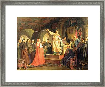 Prince Roman Of Halych-volhynia Receiving The Ambassadors Of Pope Innocent IIi, 1875 Oil On Canvas Framed Print by Nikolai Vasilievich Nevrev