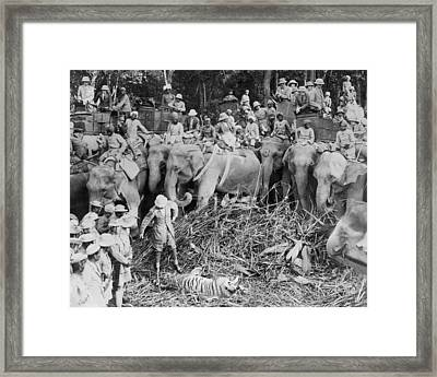 Prince Shoots A Tiger Framed Print by Underwood Archives