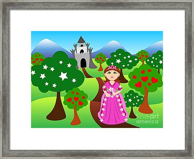 Princess And Castle Landscape Framed Print by Sylvie Bouchard