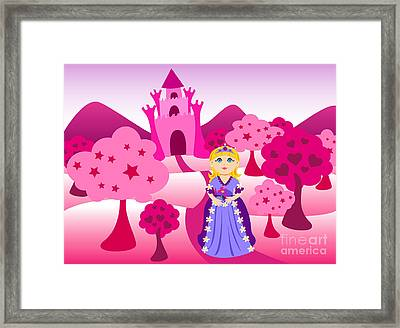 Princess And Pink Castle Landscape Framed Print by Sylvie Bouchard