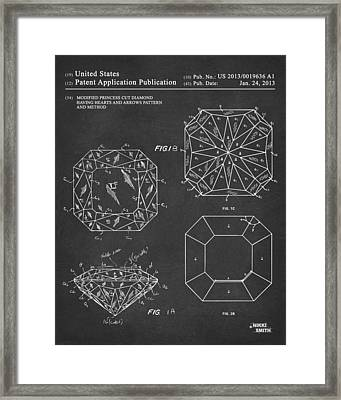 Princess Cut Diamond Patent Gray Framed Print by Nikki Marie Smith