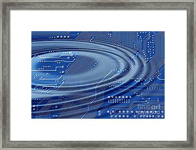Printed Circuit With Waves Framed Print by Michal Boubin