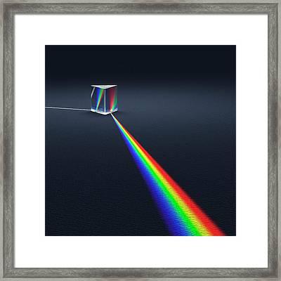 Prism Dispersing Light Into Spectrum Framed Print by David Parker
