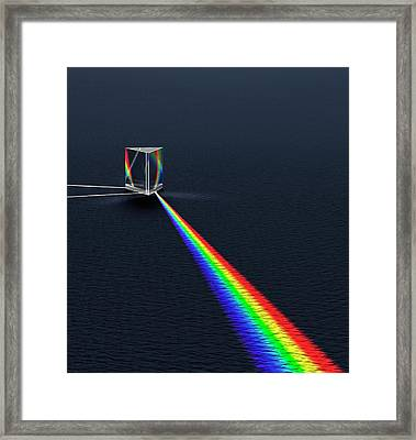 Prism Refracting Visible Light Spectrum Framed Print by David Parker