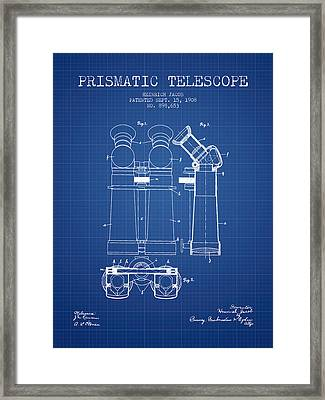 Prismatic Telescope Patent From 1908 - Blueprint Framed Print by Aged Pixel