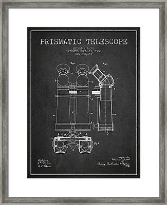 Prismatic Telescope Patent From 1908 - Dark Framed Print by Aged Pixel