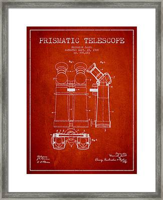 Prismatic Telescope Patent From 1908 - Red Framed Print by Aged Pixel