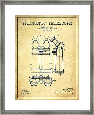 Prismatic Telescope Patent From 1908 - Vintage Framed Print by Aged Pixel