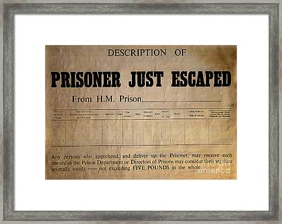 Prisoner Escaped Framed Print by Adrian Evans
