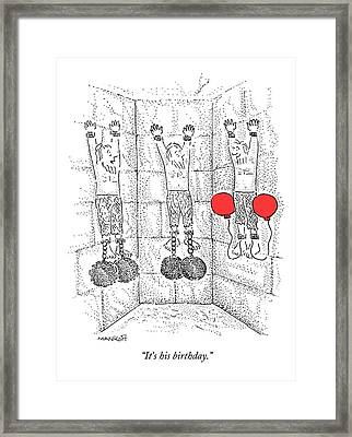 Prisoner In Dungeon Has Orange Balloons Attached Framed Print by Robert Mankoff
