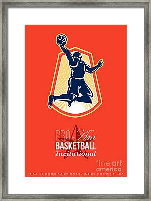 Pro Am Basketball Invitational Retro Poster Framed Print by Aloysius Patrimonio