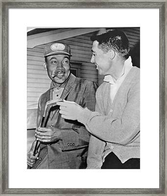 Pro Golfers Chat Framed Print by Underwood Archives