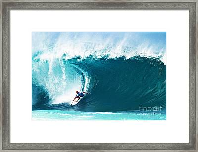 Pro Surfer Kelly Slater Surfing In The Pipeline Masters Contest Framed Print by Paul Topp