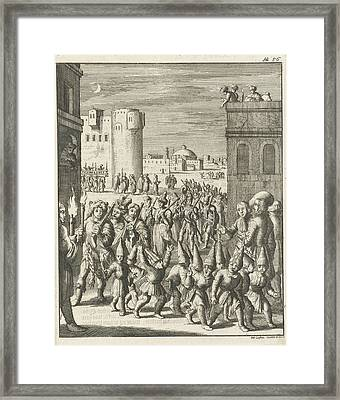Procession Of The Shoemaker Guild At Aleppo Framed Print by Jan Luyken