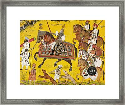 Processional Portrait Of Prince Bhawani Sing Of Sitamau Framed Print by Pyara Singh
