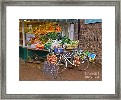 Produce Market In Corbridge Framed Print by Louise Heusinkveld
