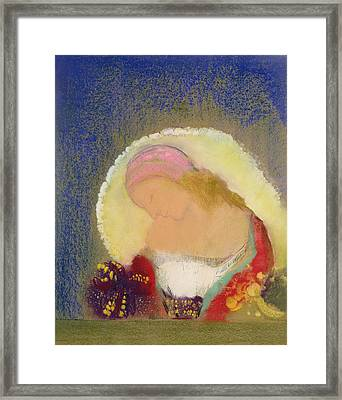 Profile Of A Girl With Flowers Framed Print by Odilon Redon