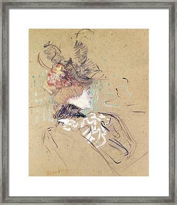 Profile Of A Woman Framed Print by Henri de Toulouse-Lautrec