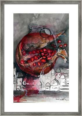 promegranate blooming in Jerusalem Framed Print by Elani Van der Merwe
