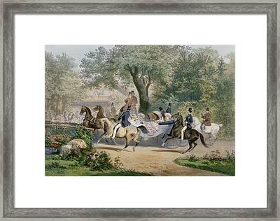 Promenade Au Bois Framed Print by Eugene Charles Francois Guerard
