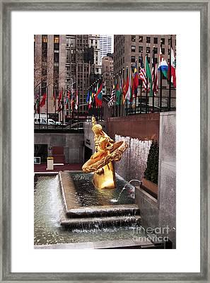 Prometheus At Rockefeller Center Framed Print by John Rizzuto