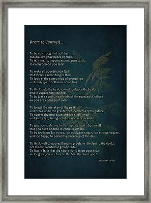 Promise Yourself Framed Print by Maria Angelica Maira