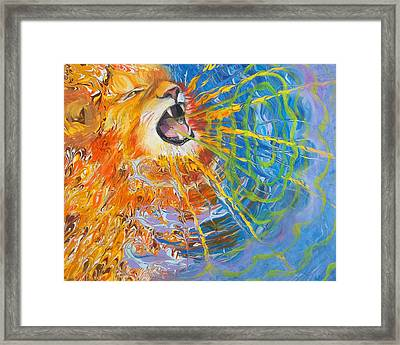 Prophetic Sketch Painting 25 Lion Of Judah Awakens With A Roar Framed Print by Anne Cameron Cutri