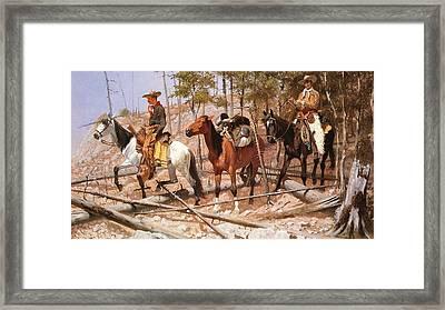 Prospecting For Cattle Range Framed Print by Frederic Remington