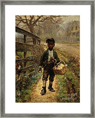 Protecting The Groceries Framed Print by Edward Lamson Henry