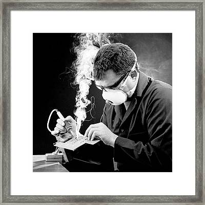 Protection From Soldering Fumes Framed Print by Crown Copyright/health & Safety Laboratory Science Photo Library