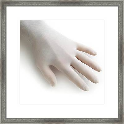 Protective Latex Glove Framed Print by Science Photo Library