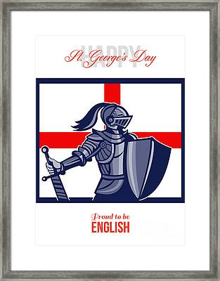 Proud To Be English Happy St George Day Card Framed Print by Aloysius Patrimonio