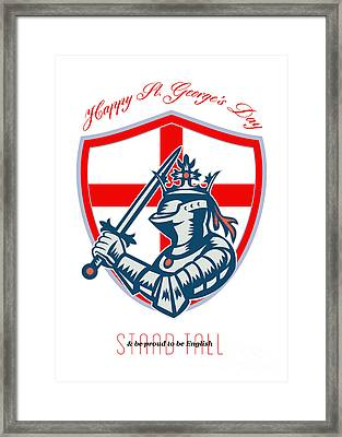 Proud To Be English Happy St George Day Shield Card Framed Print by Aloysius Patrimonio