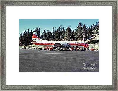 Psa Lockheed L188c Electra   N171p Cindy Lake Tahoe Airport Framed Print by Wernher Krutein