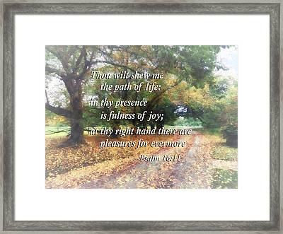 Psalm 16 11 Thou Wilt Shew Me The Path Of Life Framed Print by Susan Savad