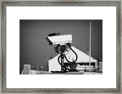 Psni Surveillance Land Rover Spy Camera On Crumlin Road At Ardoyne Shops Belfast 12th July Framed Print by Joe Fox
