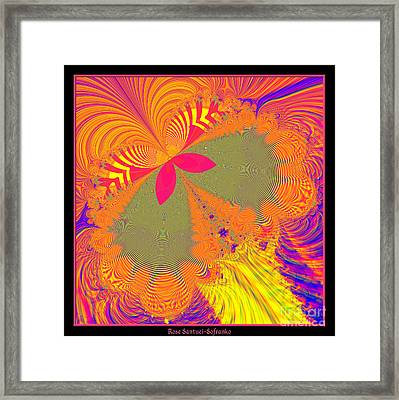 Psychedelic Butterfly Explosion Fractal 61 Framed Print by Rose Santuci-Sofranko
