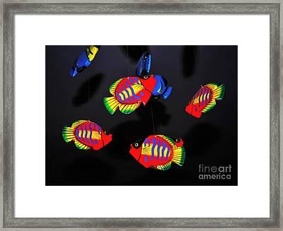 Psychedelic Flying Fish Framed Print by Kaye Menner